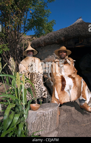 Two men at Basotho Cultural Village,Qwa Qwa,Eastern Free State Province - Stock Photo