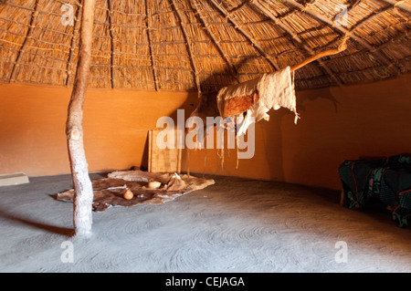Interior of Traditional hut at Basotho Cultural Village,Qwa Qwa,Eastern Free State Province - Stock Photo