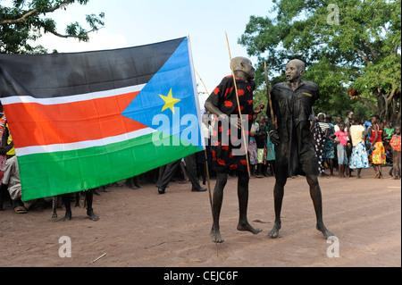 Africa SOUTH SUDAN Bahr al Ghazal region , Lakes State, village Mapourdit, Dinka people celebrate harvest festival - Stock Photo