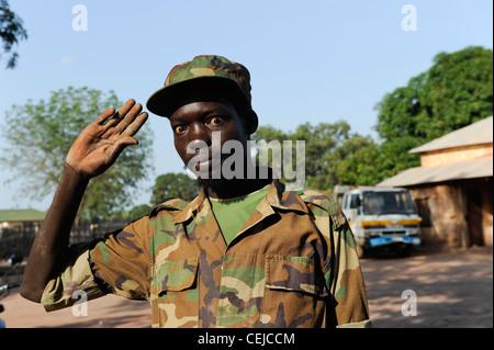 Africa SOUTH SUDAN Bahr al Ghazal region , Lakes State, town Rumbek , drunken SPLA soldier in War Heroes Center - Stock Photo