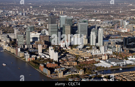 Aerial Image of Canary Wharf, Isle of Dogs, London - Stock Photo