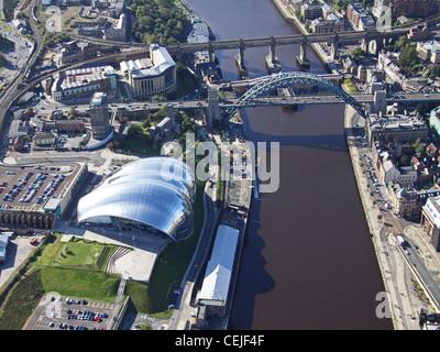 Aerial image of the Tyne Bridge, River Tyne and The Sage Gateshead, near Newcastle-upon-Tyne - Stock Photo