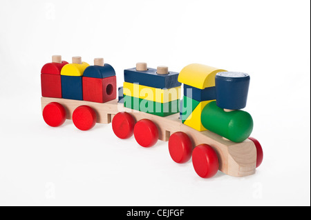 A child's wooden toy  train - Stock Photo