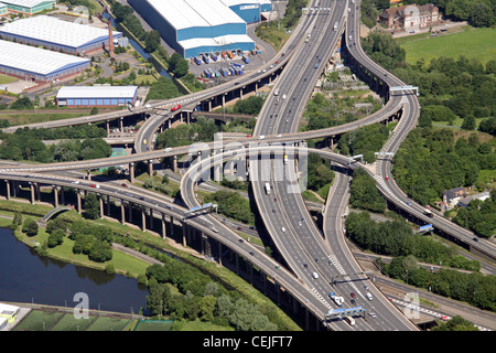 Aerial image of Spaghetti Junction M6 A38 road network Birmingham - Stock Photo