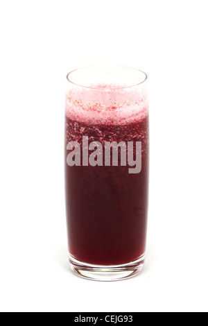 Fresh squeezed organic apple cranberry juice in a tall glass isolated on a white background. - Stock Photo