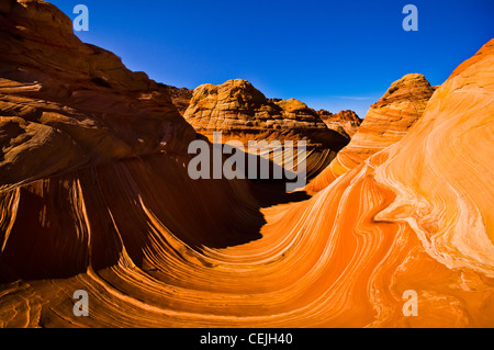 The Wave is a sandstone rock formation located in the United States of America near the Arizona and Utah border. - Stock Photo
