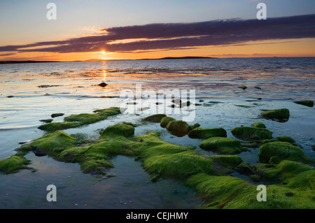 Sunset at the Sands of Mussetter on the island of Eday, Orkney Islands, Scotland. - Stock Photo