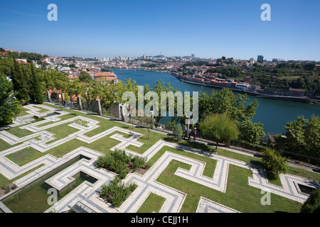 Gardens of the Crystal Palace on the banks of the Douro River - Porto, Porto District, Norte Region, Portugal - Stock Photo