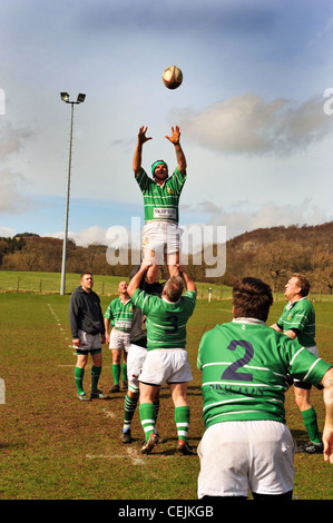 Practicing Rugby,  Wharfedale Rugby Union Football Club, North Yorkshire UK - Stock Photo