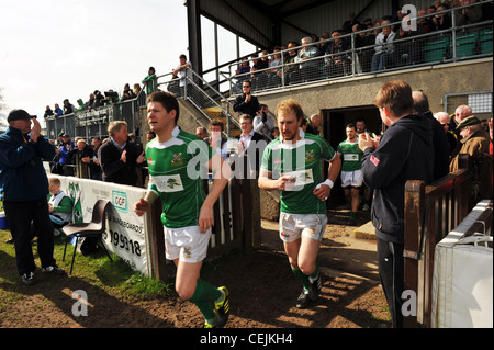 Players enter the pitch to a Rugby game, Wharfedale Rugby Union Football Club, North Yorkshire UK - Stock Photo
