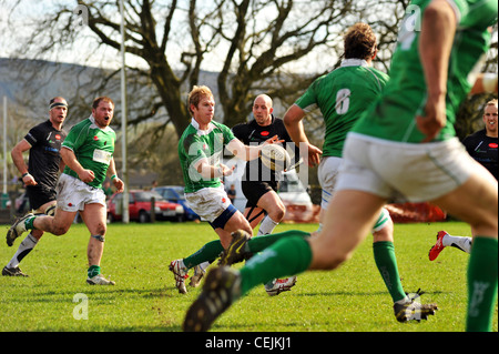 Rugby game, Wharfedale Rugby Union Football Club, North Yorkshire UK - Stock Photo