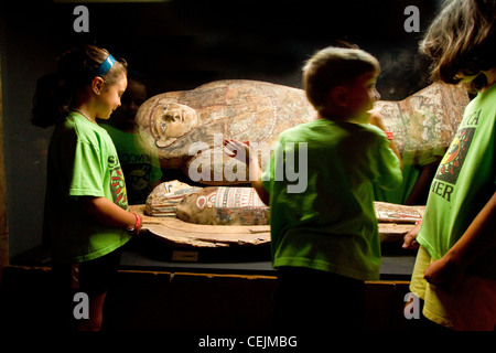 Children look at a mummy in a museum. - Stock Photo