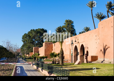 Old city walls surrounding the Medina district, Marrakech, Morocco, North Africa - Stock Photo