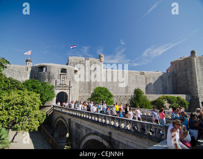 Tourists visiting Old town in Dubrovnic, Croatia - Stock Photo