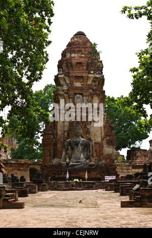 Buddha Image in Wat Mahathat Ayutthaya of Thailand - Stock Photo