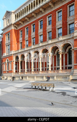 Victoria & Albert Museum Henry Cole Wing facade seen from Exhibition Road shared space thoroughfare Kensington London - Stock Photo