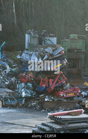 A mountain of crushed cars in a scrapyard - Stock Photo