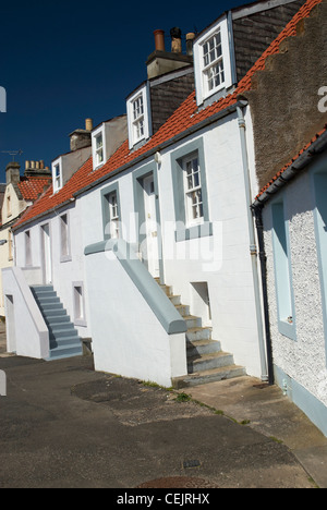 Traditional fishing cottages at Pittenweem - Stock Photo