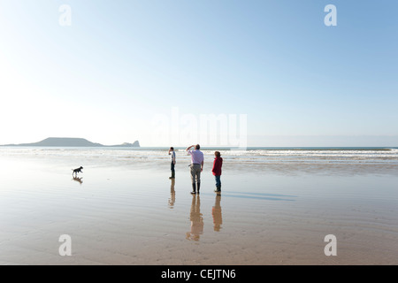 A family playing with their dog on the beach, Rhossili Bay, Gower Peninsula, South Wales - Stock Photo