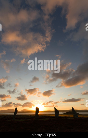 Ring of Brodgar stone circle at sunset, Orkney - Stock Photo