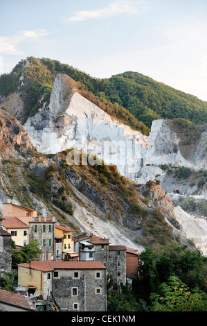 Quarry village of Colonnata in the famous Carrara marble region of the Apuan Alps limestone mountains of Tuscany, - Stock Photo