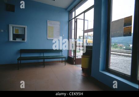 Waiting room interior of the railway station in Mojkovac, northern Montenegro, Balkans - Stock Photo