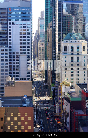 A view East down 8th Avenue from the 40th floor of an apartment buildings in Hell's Kitchen. - Stock Photo