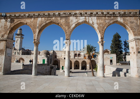 This arcade located west Dome Rock four arches resting on three marble columns Corinthian capitals Old City Jerusalem - Stock Photo