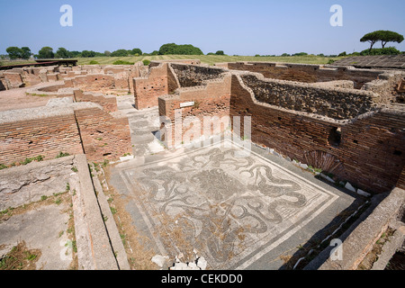 Maritime Baths (Regio III Insula VIII 2) constructed c 130 AD in opus mixtum Heated rooms added around 210 AD in - Stock Photo