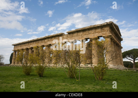 best preserved temples Magna Graecia Temple 'of Neptune' Paestum (Greek Poseidonia) called seemed logical imposing - Stock Photo