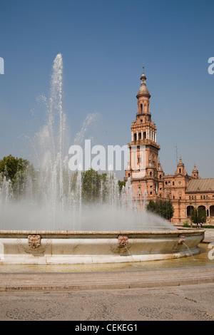Espana Square (Plaza de Espana) built Ibero-American Exhibition 1929 held in Seville  creator Anibal Gonzalez mixed - Stock Photo