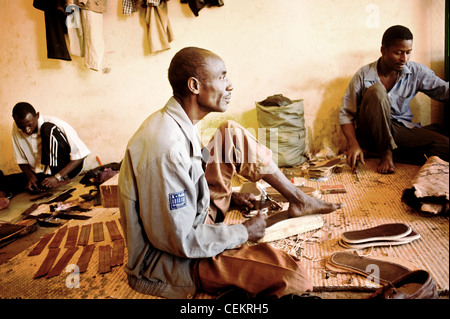 African leather workers in Niamey, Niger - Stock Photo