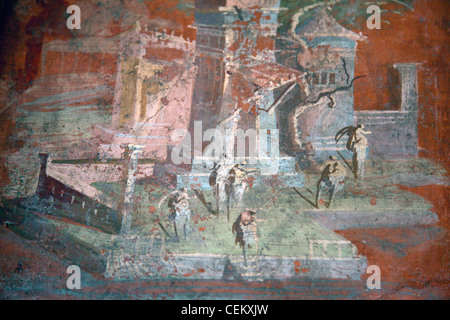 Italy, Naples, Naples Museum, from Pompeii, Illustration with Landcape, The Porticus - Stock Photo