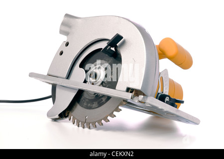 circular electric saw isolated on white - Stock Photo