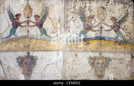 Italy, Naples, Naples Museum, Stabiae, Villa of Arianne, Area 24, Pediments - Stock Photo