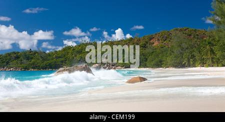 Anse Lazio, Praslin, Seychelles. View along the beach. - Stock Photo