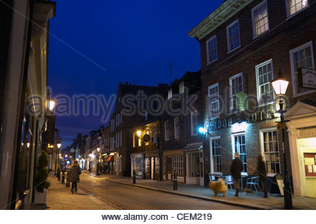 Early winter's evening in the High Street of Rochester, Kent, UK. - Stock Photo