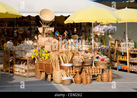 Rovinj, Istria, Croatia. Basketwork on display in Trg Valdibora. - Stock Photo