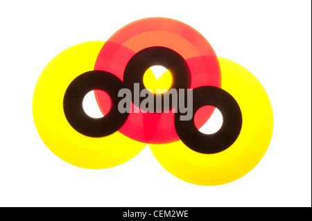 45 RPM records from the 1950's mid-century modern, Vinyl. - Stock Photo