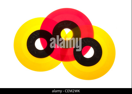 45 RPM records from the 1950's mid-century modern, Vinyl - Stock Photo