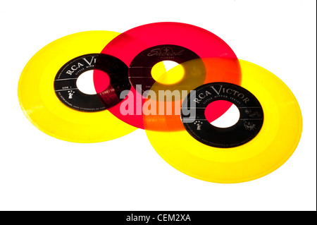 45 RPM records from the 1950's. mid-century modern, Vinyl - Stock Photo
