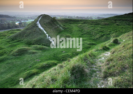 Footpath with views over countryside from the top of Cley Hill, Wiltshire, UK - Stock Photo