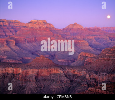 Full moon rising over Grand Canyon, view from South Kaibab Trail below South Rim of Grand Canyon National Park, - Stock Photo
