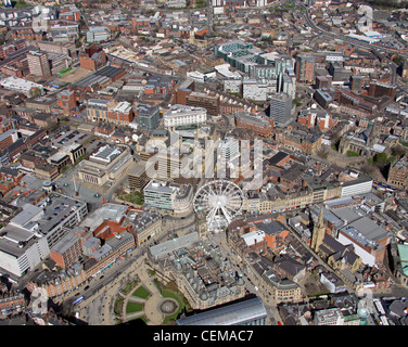 Aerial image of Sheffield City Centre taken in 2010 with a white ferris wheel positioned on Surrey Street / Fargate - Stock Photo