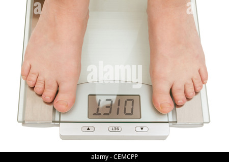 Female feet on scales isolated on white - Diet Sign on Display - Stock Photo