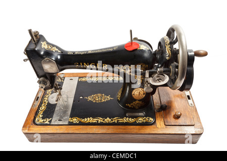 old fashioned  hand cranked sewing machine - Stock Photo