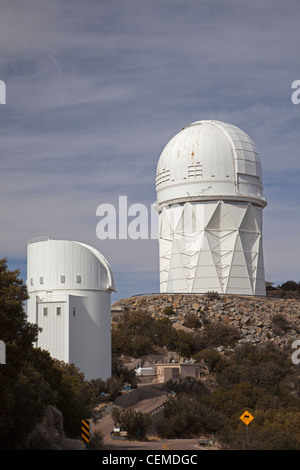 Sells, Arizona - The Mayall 4-meter telescope (right) and the 2.3-meter Bok Reflector at the Kitt Peak National - Stock Photo