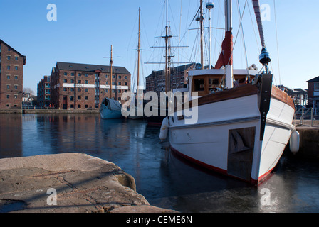 Tall Ships seen in the Quays at Gloucester Docks on a bright winter's day - Stock Photo