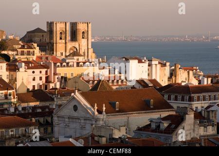 View on Lisbon Cathedral (Sé de Lisboa) from Elevador de Santa Justa. Lisbon, Portugal. - Stock Photo