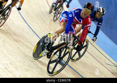 Sir Chris Hoy winning the Keirin Race, UCI Track Cycling World Cup 2012 part of the London Prepares series for the - Stock Photo
